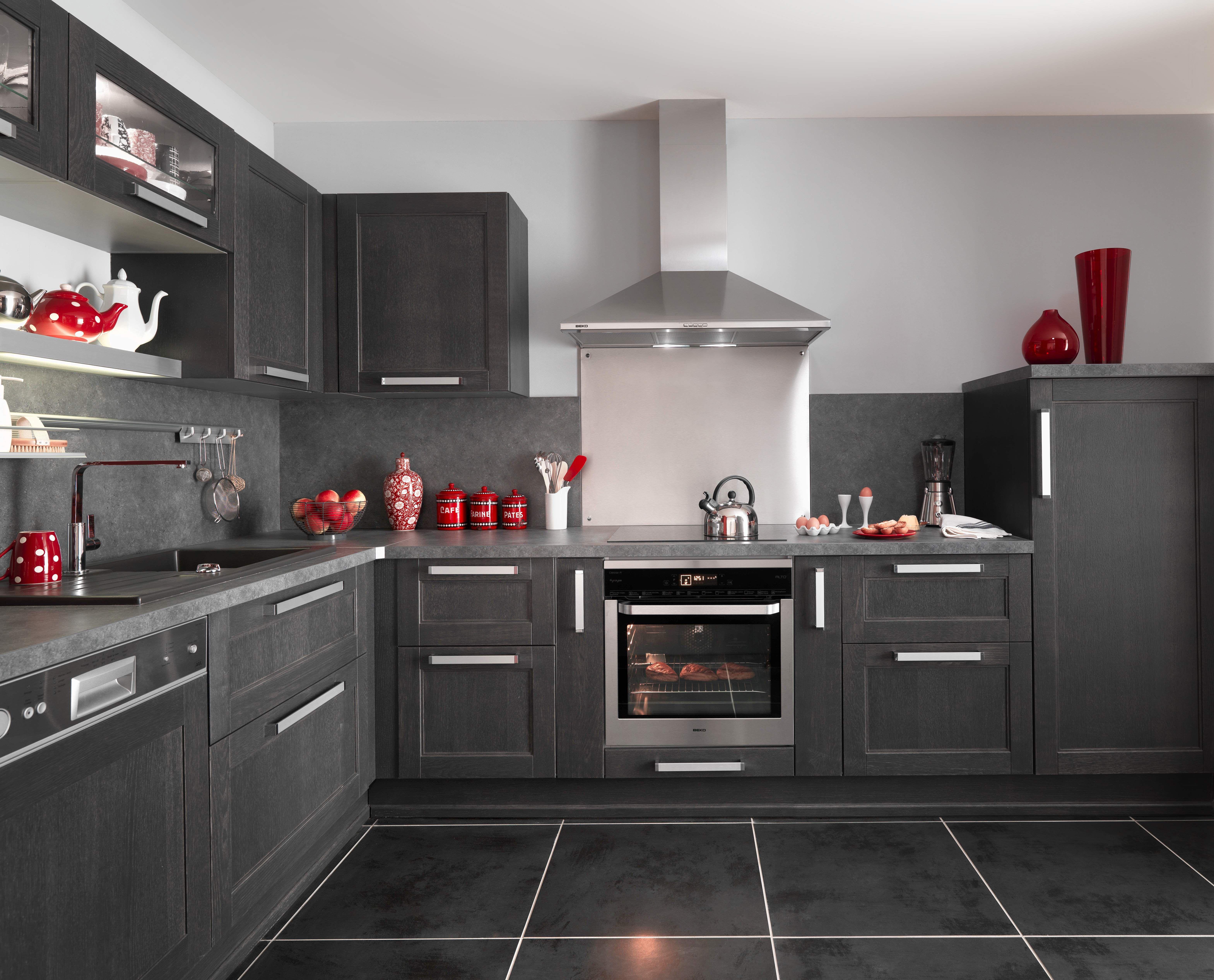 cuisine fjord noir avec ses portes en ch ne le mod le. Black Bedroom Furniture Sets. Home Design Ideas
