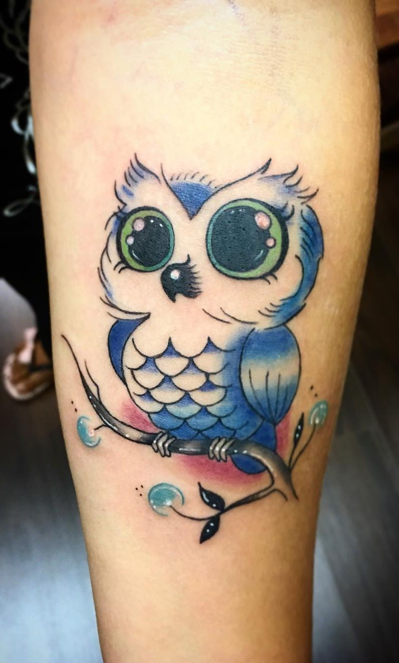 50 Of The Most Beautiful Owl Tattoo Designs And Their Meaning For The Nocturnal Animal In You Cute Owl Tattoo Owl Tattoo Design Colorful Owl Tattoo