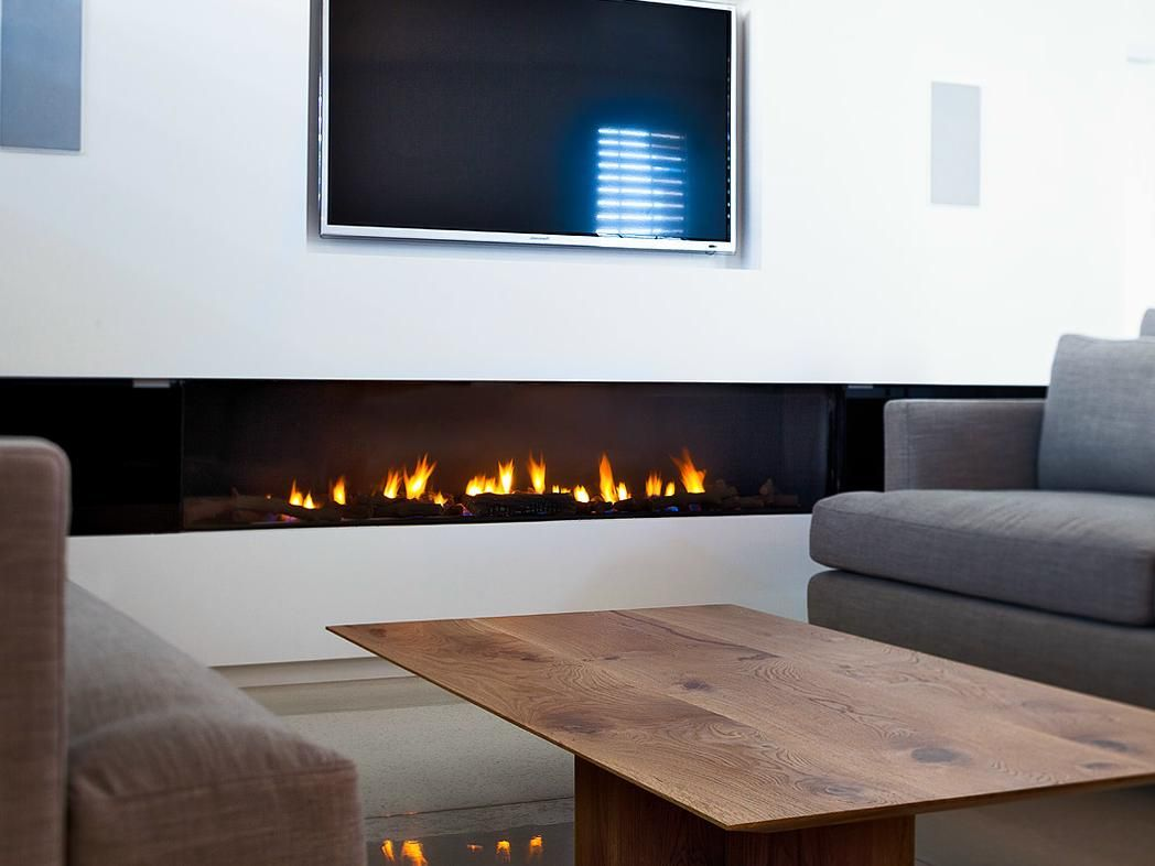 Natural gas wall mount fireplaces - Stunning Rectangular Long Gas Fireplace Design Set On Under The Tv Wall Mounted As Well Wooden