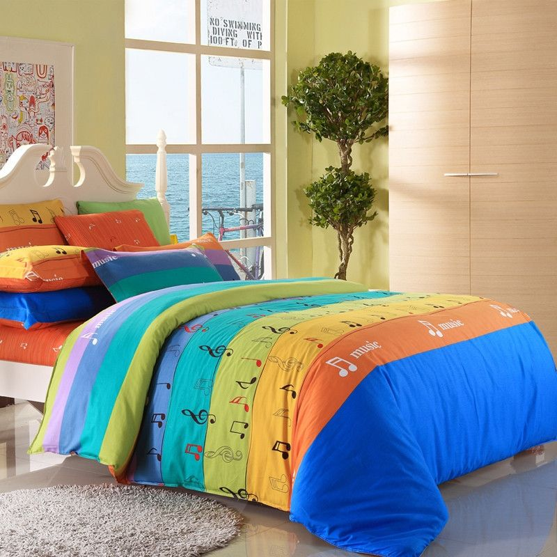 Pea Blue Orange And Yellow Music Notes Themed Colorful Wide Stripes Print Full Size Kids Boys S Bedding Sets Enjoybedding