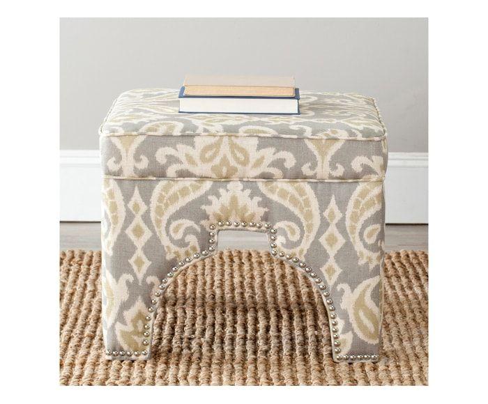 Taburete tapizado en terciopelo Mia - gris y crudo | TABURETES y ...