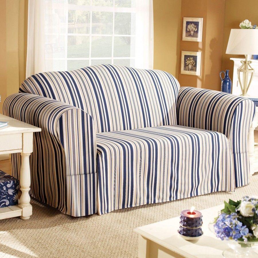 Sure Fit Indigo Blue Stripe Sofa Slipcover Box Cushion 175131339 Multi Loveseat Slipcovers Striped Sofa Slipcovers