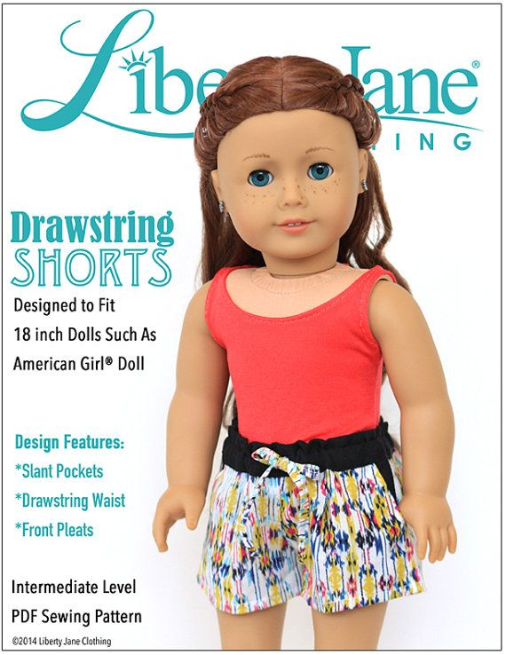 Pixie Faire Liberty Jane Drawstring Shorts Doll Clothes Pattern for ...