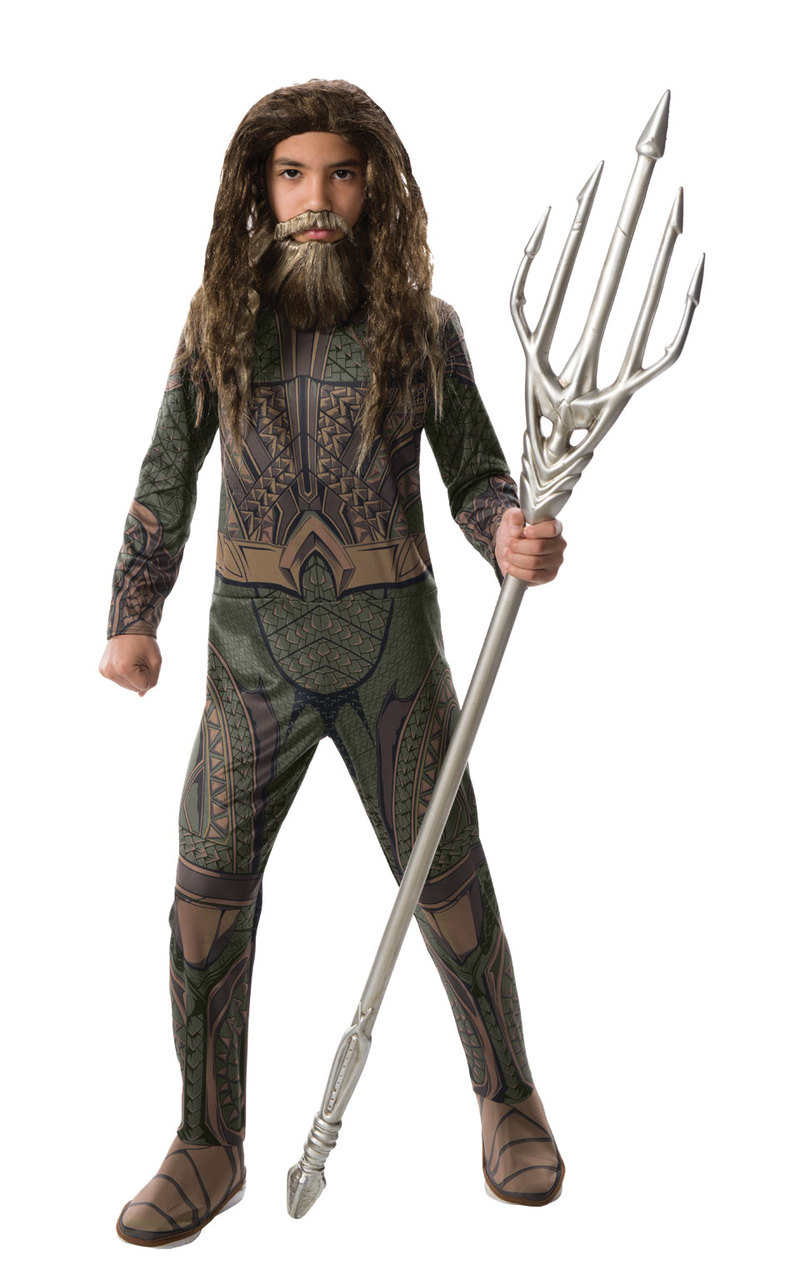 Deluxe Aquaman Boys Fancy Dress Movie Superhero Kids World Book Day Costume New