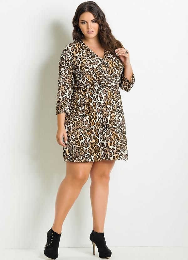 5d3cd193c Vestido Animal Print Onça Plus Size - Posthaus | BAŞARI. | Quintess ...