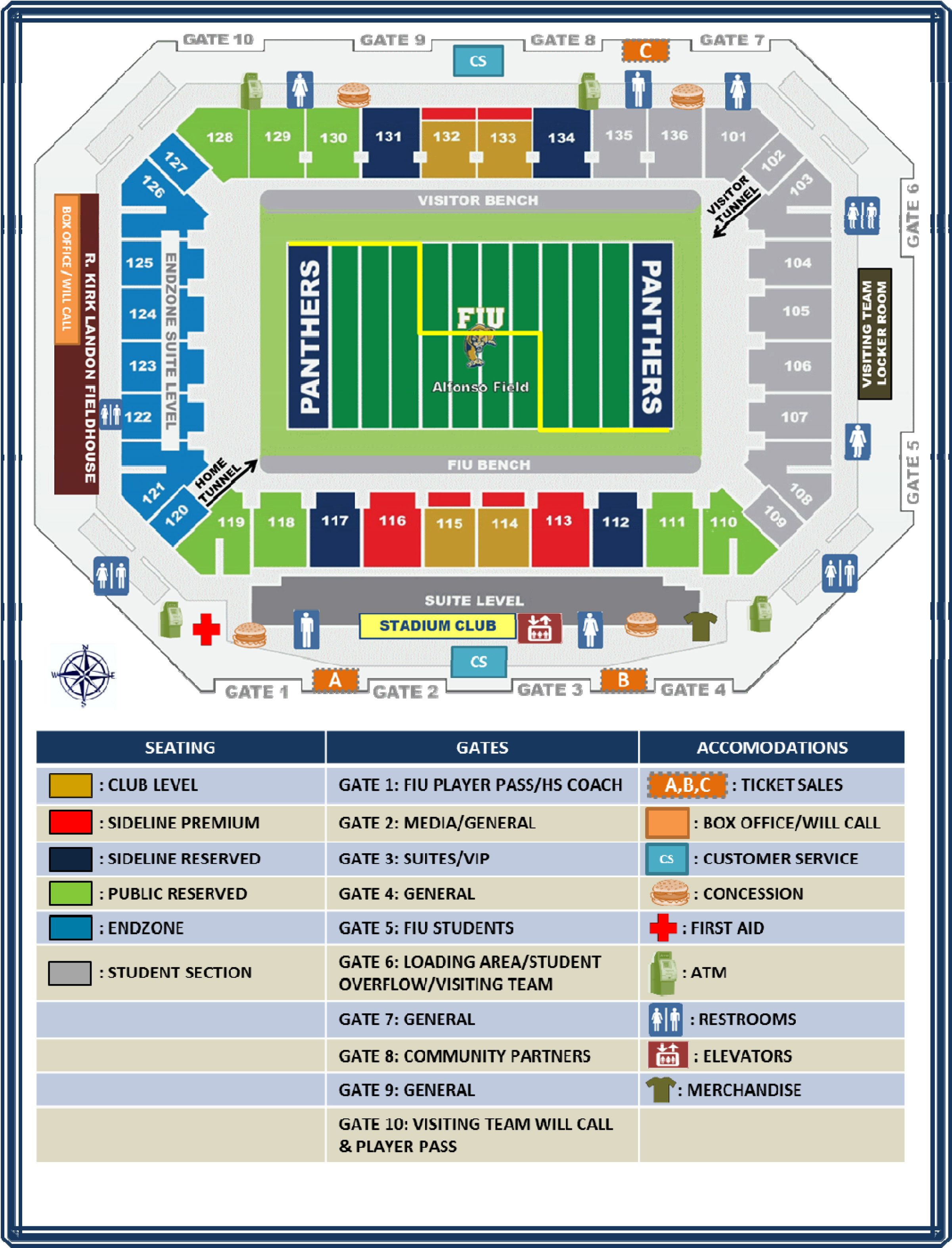 Seating Chart Of The Golden Panther Stadium Fiu Seating Charts
