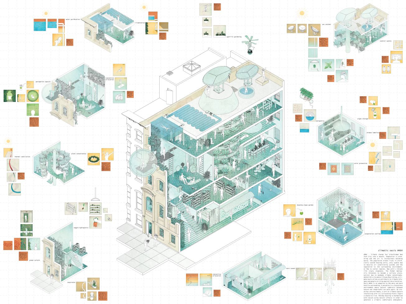 Climatic Oasis  By Fabian Franciszkiewicz Axonometric - Nyc map oasis
