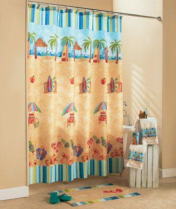 At The Beach Bathroom Collection Beach Shower Curtains Bathroom