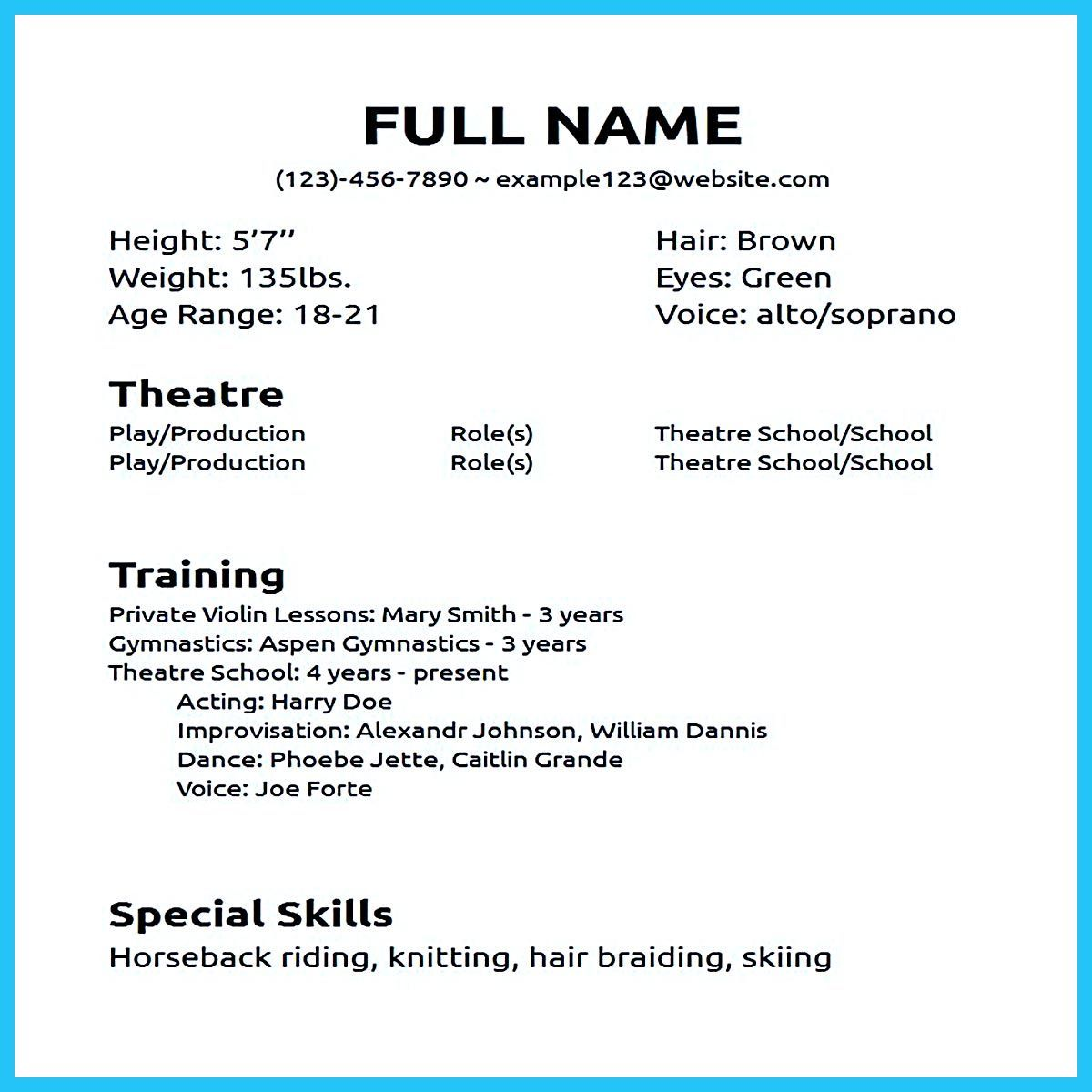 Actor resume sample presents how you will make your ...