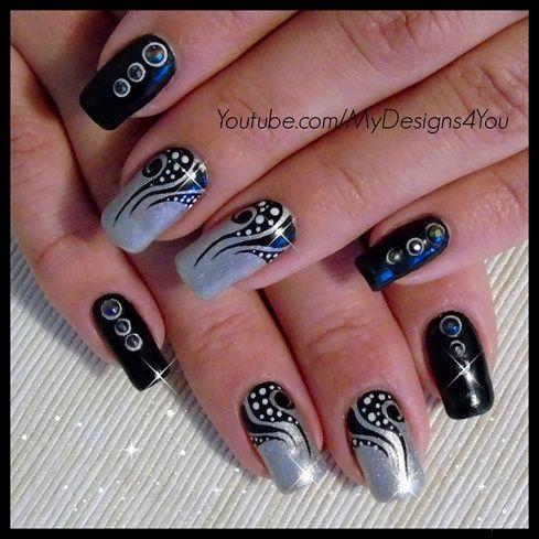 Nail Art Tattoo Black And Silver Nails Httpsyoutube
