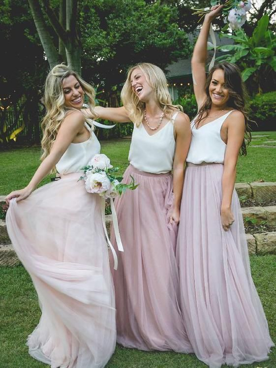 b12c8bef34a4 Cheap two piece bridesmaid dresses. Long plus size bridesmaid dress with  chiffon top and tull skirt.