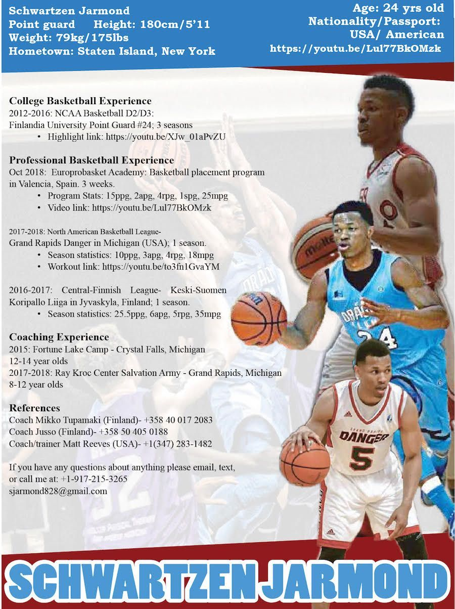 Basketball player resume 2019 professional basketball