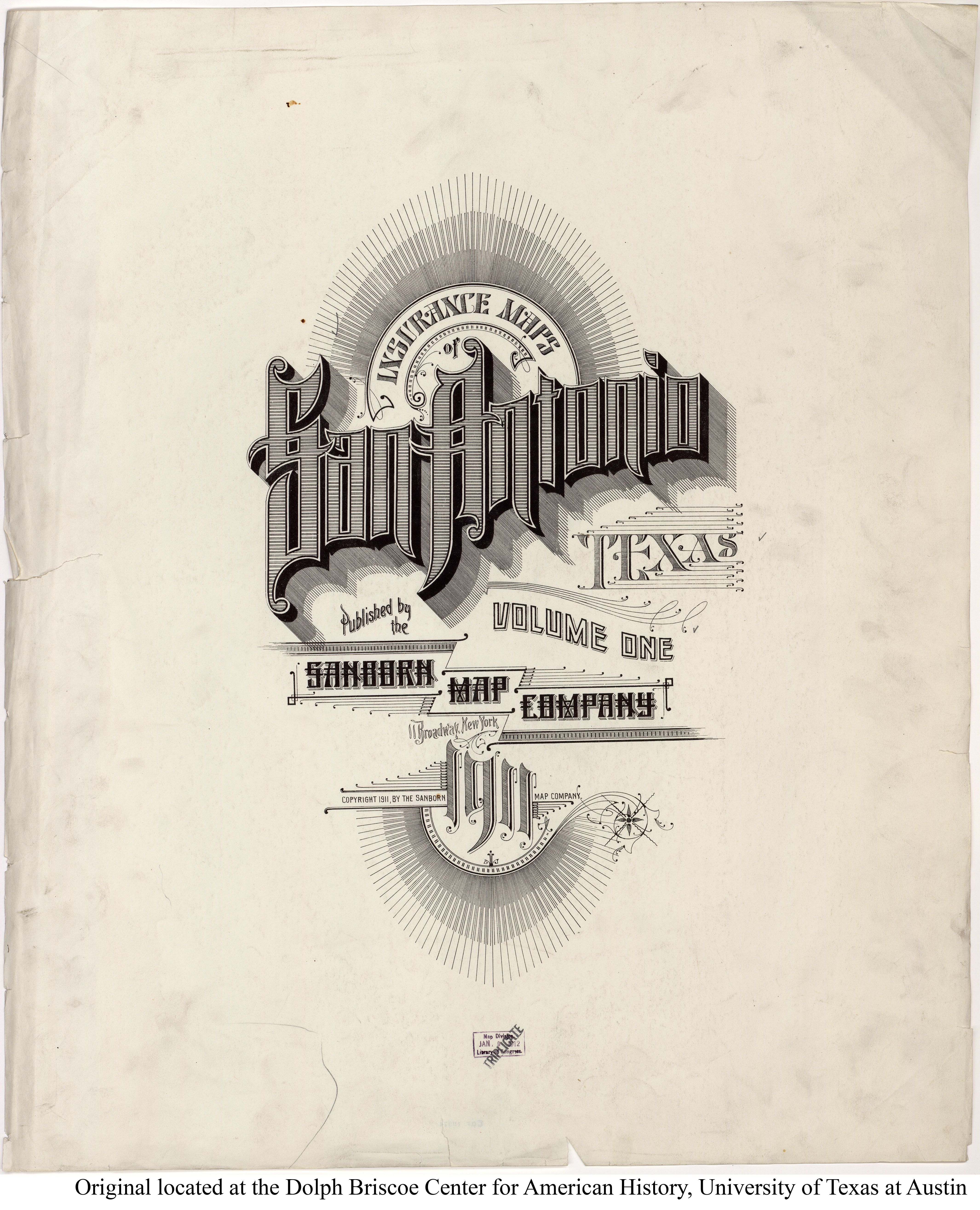 Sanborn Map Company 1911 San Antonio Texas Sanborn Map Company Insurance Map Cover