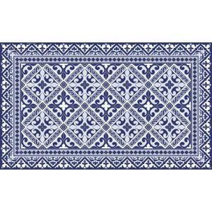 Tapis Vinyle 97x136 50cm Imitation Carreaux De Ciment Fleur De