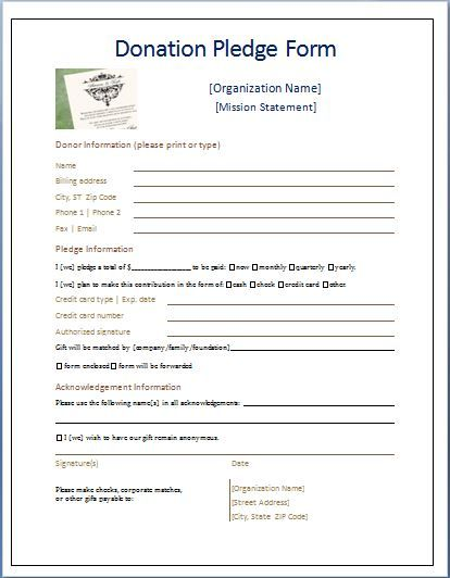 Sample Donation Pledge Form Daily Medical Forms Pinterest - Donation Form Templates