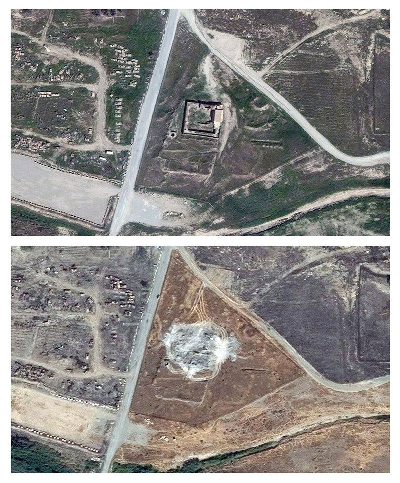 2016- This combination of two satellite images provided by DigitalGlobe, taken on March 31, 2011 (top), and Sept. 28, 2014, shows the site of the Christian monastery known as St. Elijah's, or Dair Mar Elia.