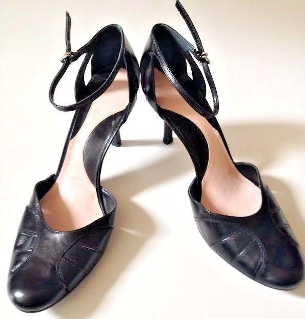 eed659caaa Gianni Bini Heels Size 7 M Black Leather Kitten Ankle Strap Shoes Career  Dress #GIANNIBiNI #KittenHeels #WeartoWork