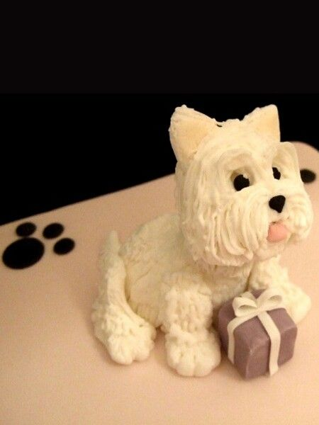 Fondant Westie With Present So Cute On Top Of Cake Fondant