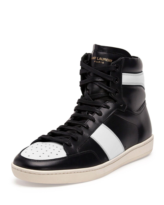 b83a21daaaa Yves Saint Laurent Contrast-Stripe Leather High-Top Sneaker, Men's, Size:  46EU/13D, Black/Blue