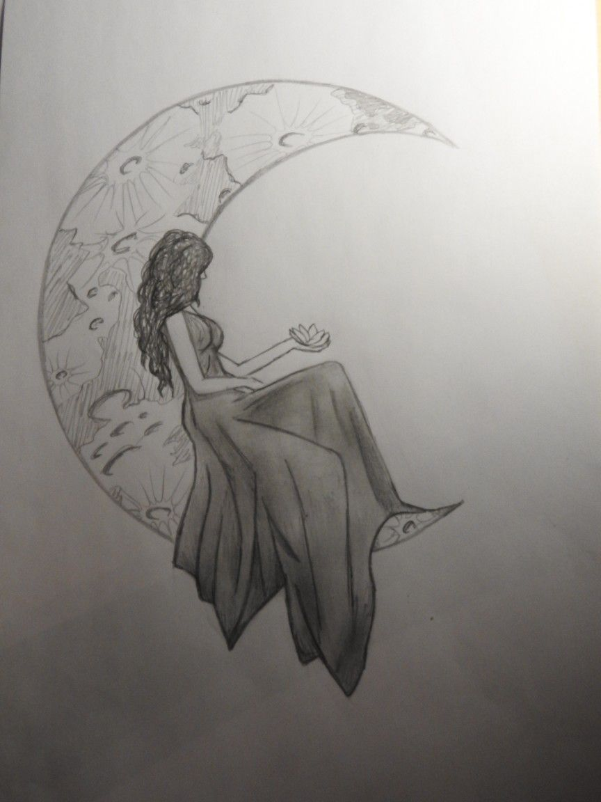 Drawing draw disegno moon girl woman pen pencil moment