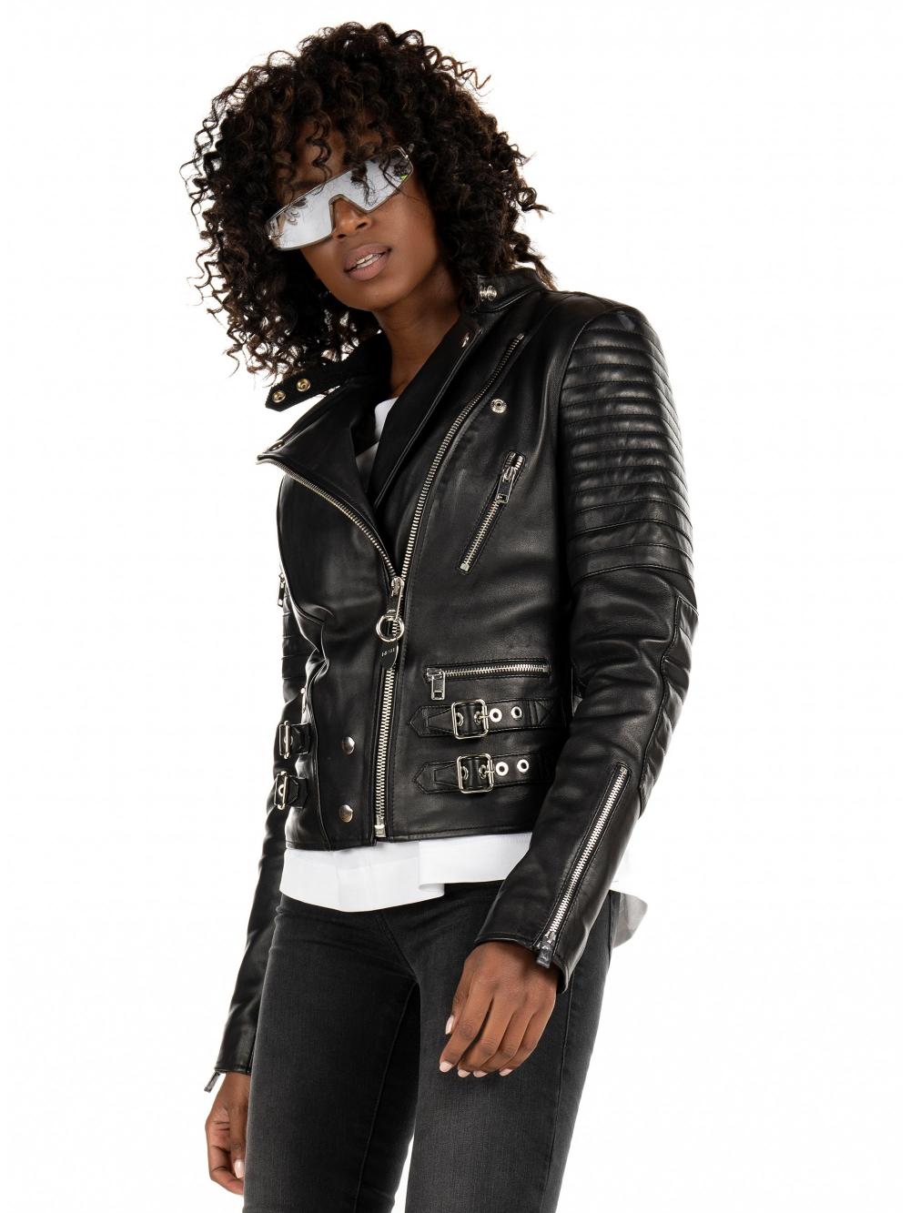 Diesel Leather Jacket L Ige New Black Gynaika F8inopwro Xeimwnas 2020 21 Leather Jacket Women Fashion [ 1333 x 1000 Pixel ]
