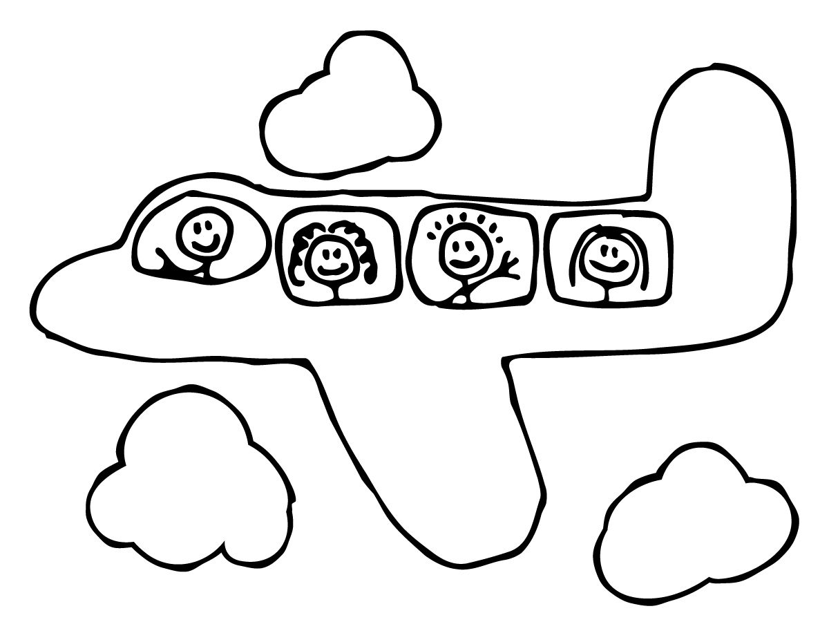 Airplane Coloring Page I M Thinking I Ll Let The Kids Color The Plane And Glue Cotton Balls On