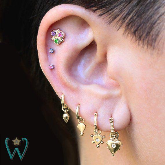 14ky Triple Gem Flower Stud Earring Flat Back Earring