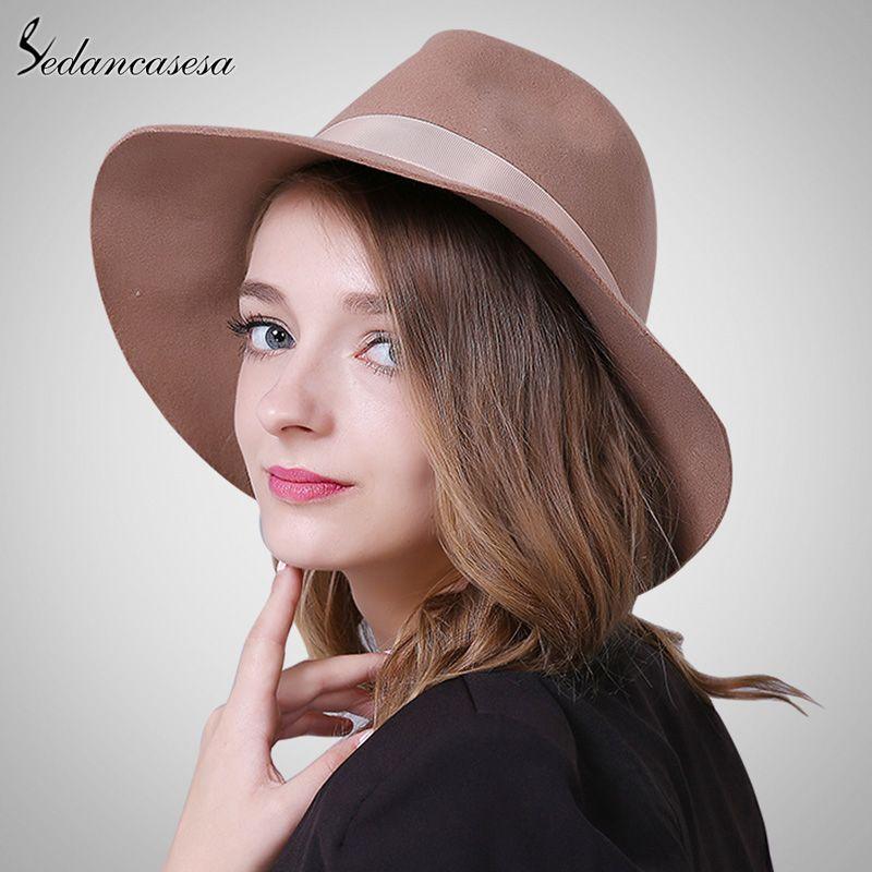 Brand Spring Fashion Wide Brim Australian Wool Felt Hat Black Khaki Ladies  Women s Elegant Hats Wholesale Fedora Caps What a beautiful image  shop   beauty ... f90ca6c9a336