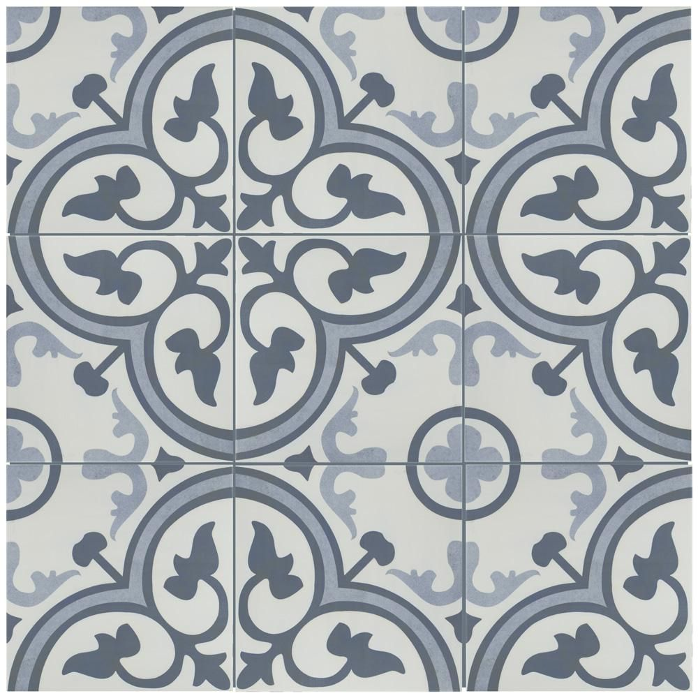 Merola Tile Amberes Azul Encaustic 12 3 8 In X 12 3 8 In Ceramic Floor And Wall Tile 10 96 Sq Ft Case Fcg12ama The Home Depot Ceramic Floor Wall Tiles Flooring