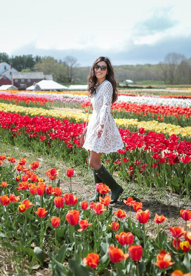 Rhode Island Tulip Flower Fields In Hunter Rain Boots Boston Fashion Blogger Summer Dress Outfits Lace White Dress Spring Outfits
