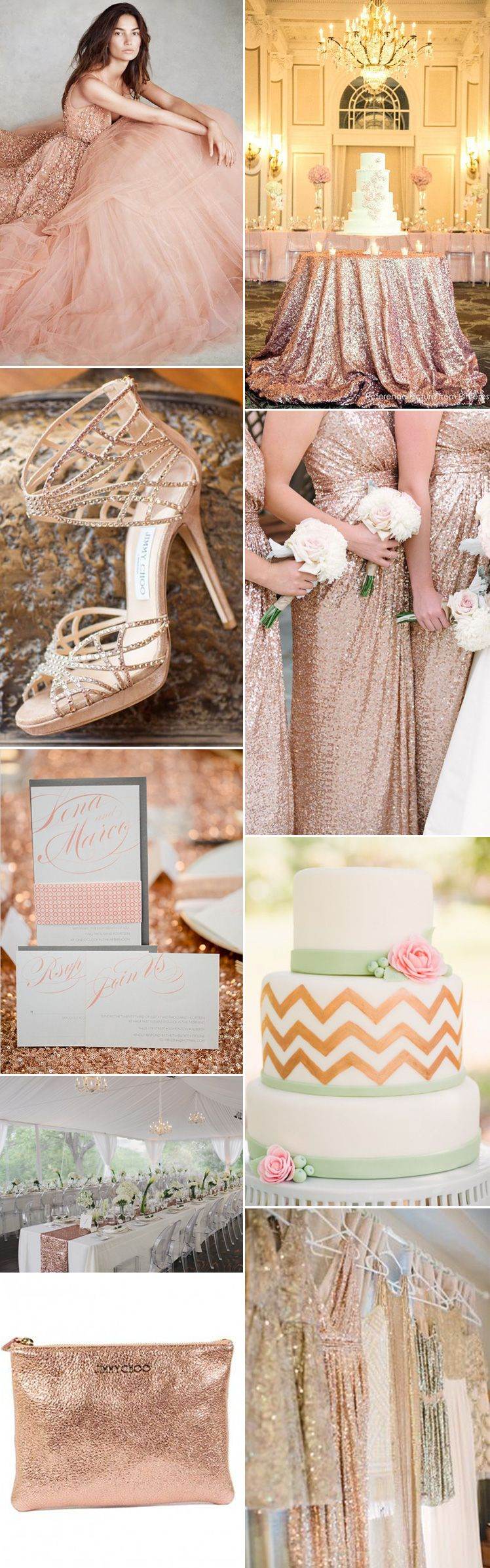 Rose gold wedding inspiration onewed rose gold ruffly wedding chair - We Love The Metallic Sparkle Of A Rose Gold Wedding Theme Gs Inspiration At Glitzy
