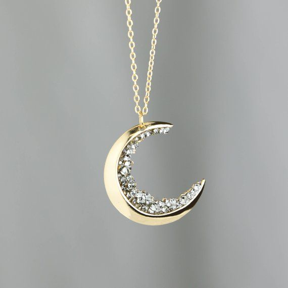 Photo of Celestial Jewelry Gold Crescent Moon Necklace Jewelry Gift Necklace Custom Jewelry Raw Gem Jewelry Zodiac Gift Druzy Moon -ZCMN