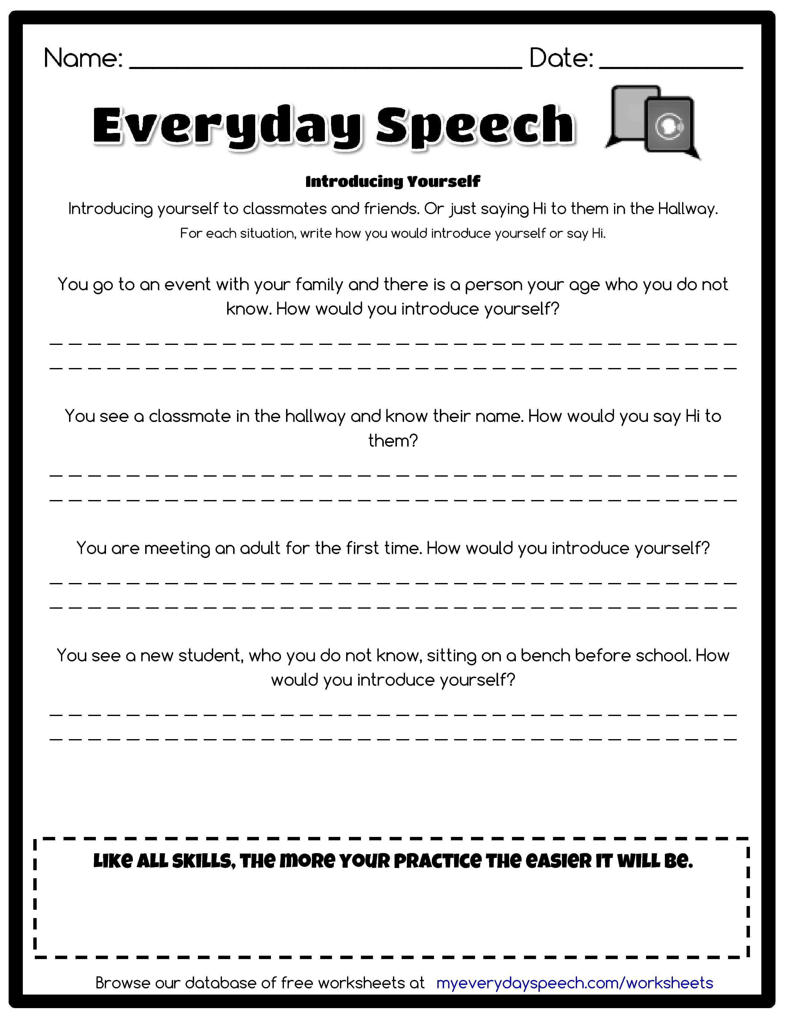 Worksheets Speech Therapy Worksheets introducing yourself social skills pinterest speech therapy therapy