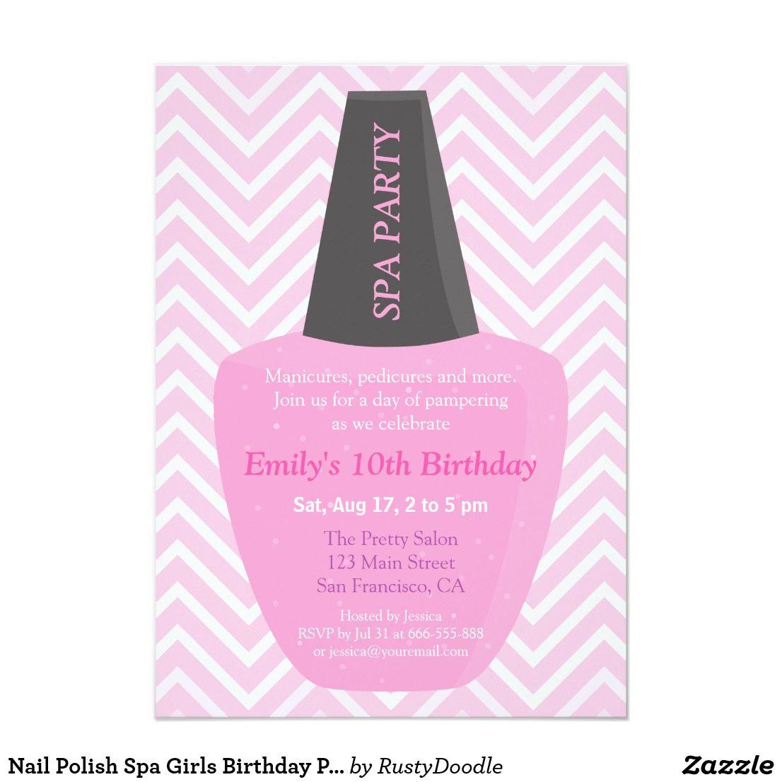 Nail Polish Spa Girls Birthday Party Invitations | Girl birthday ...