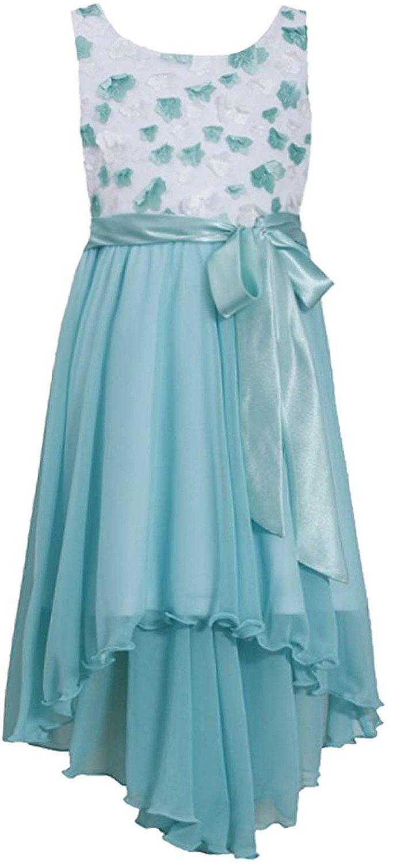 Big Girls Tween 7-16 Aqua Diecut Floral Chiffon High Low Dresss ...