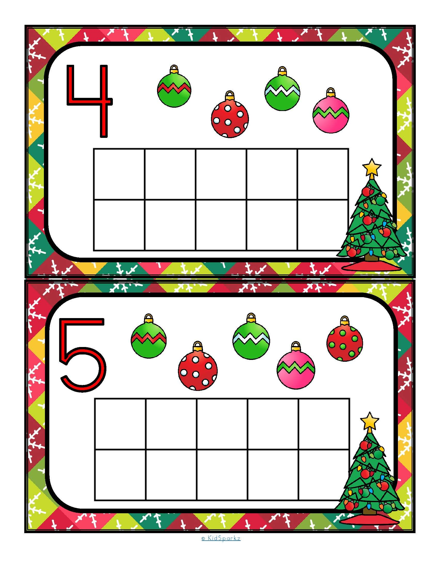 Free Christmas Counting And 10 Frames 0 10 Center