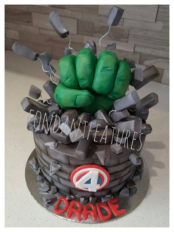 Hulk Smash Hand Cake Topper by fondantfeatures on Etsy Kids