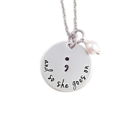 Semicolon pendant necklacehand stampedsilver plated and so she goes on semi colon necklace show your support for the semi aloadofball Images