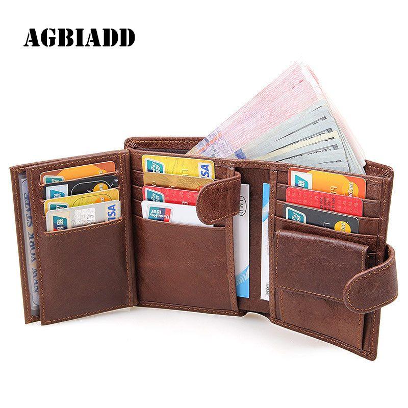 AGBIADD Genuine Leather Men Wallet Three Fold RFID Wallet Purse ...