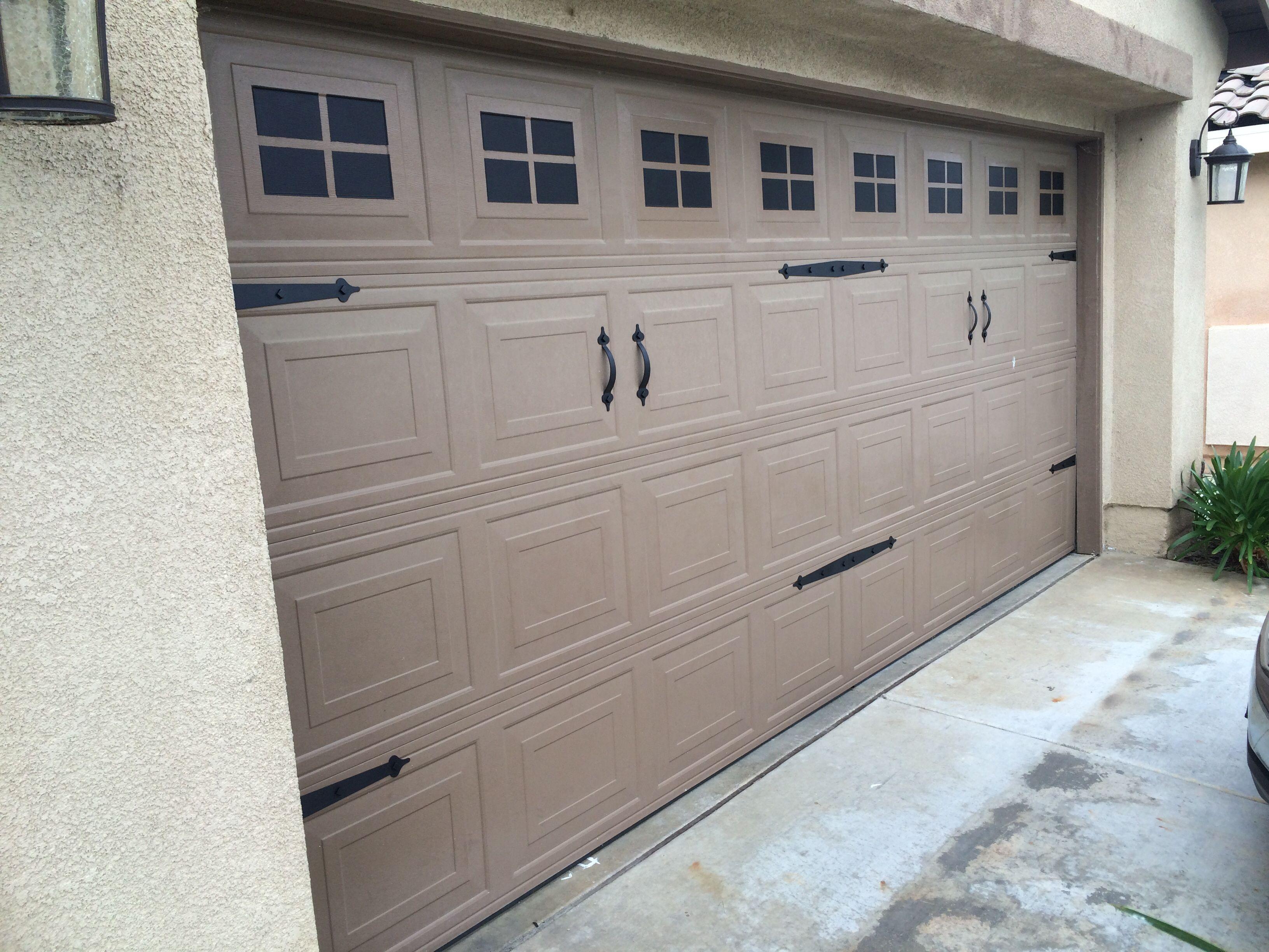 Garage door windows that open  Garage door makeover Painted windows and hardware  My home