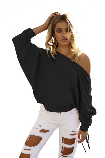 a728745d8c62 Sexy One Shoulder Pleated Draw String Sleeve Loose Top Black ...