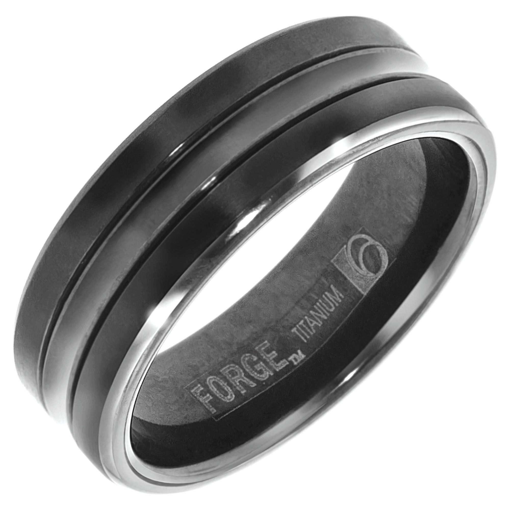 benchmark mens wedding band in black titanium (7mm) | groovy