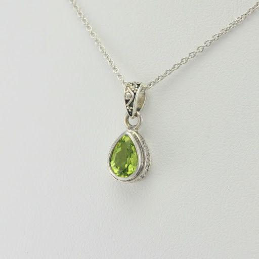 "[457] sterling silver peridot 5x8mm teardrop bali pendant on 18""rdm anc030 chain"