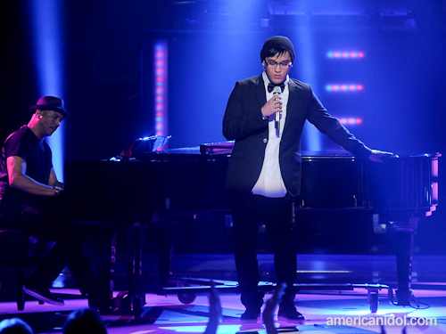 """Heejun Han performs """"My Life"""" by Billy Joel at the Top 10 performance show."""