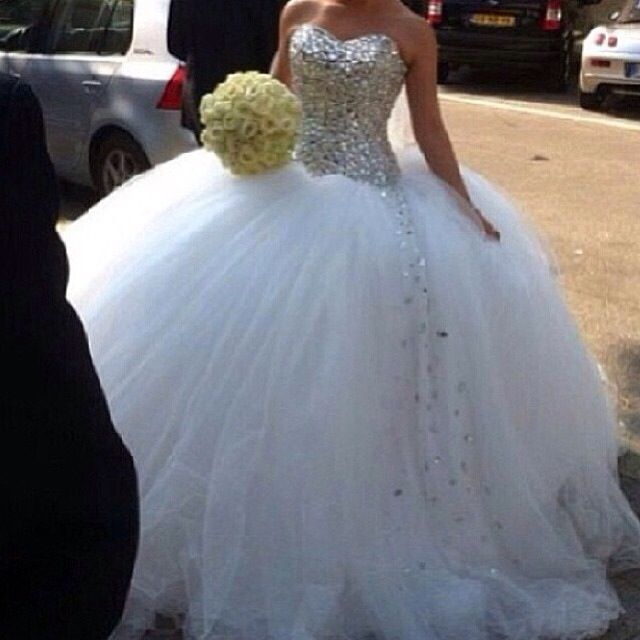 White And Gold Wedding Sweetheart Corset Ballgown Dress