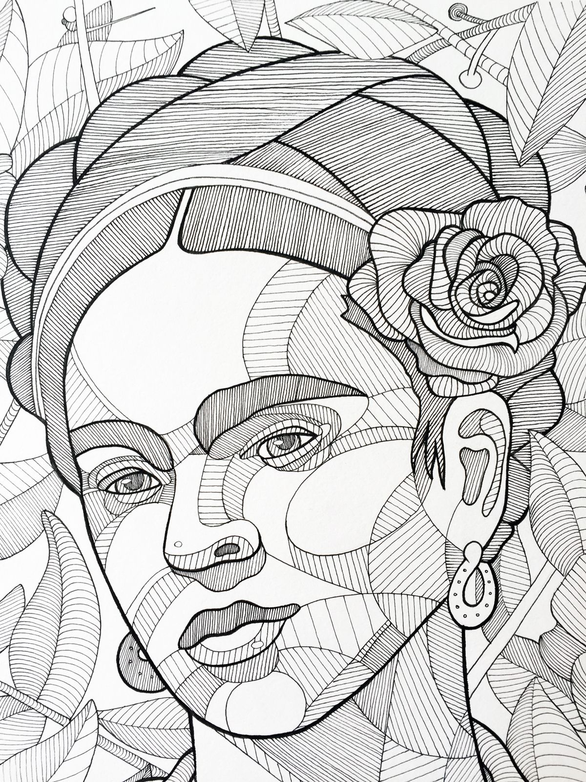 Frida Kahlo, ink on paper, 14\' x 17\'Prints available for purchase ...