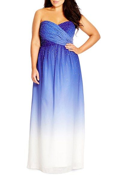 City Chic Enchanted Embellished Strapless Ombré Maxi Dress Plus