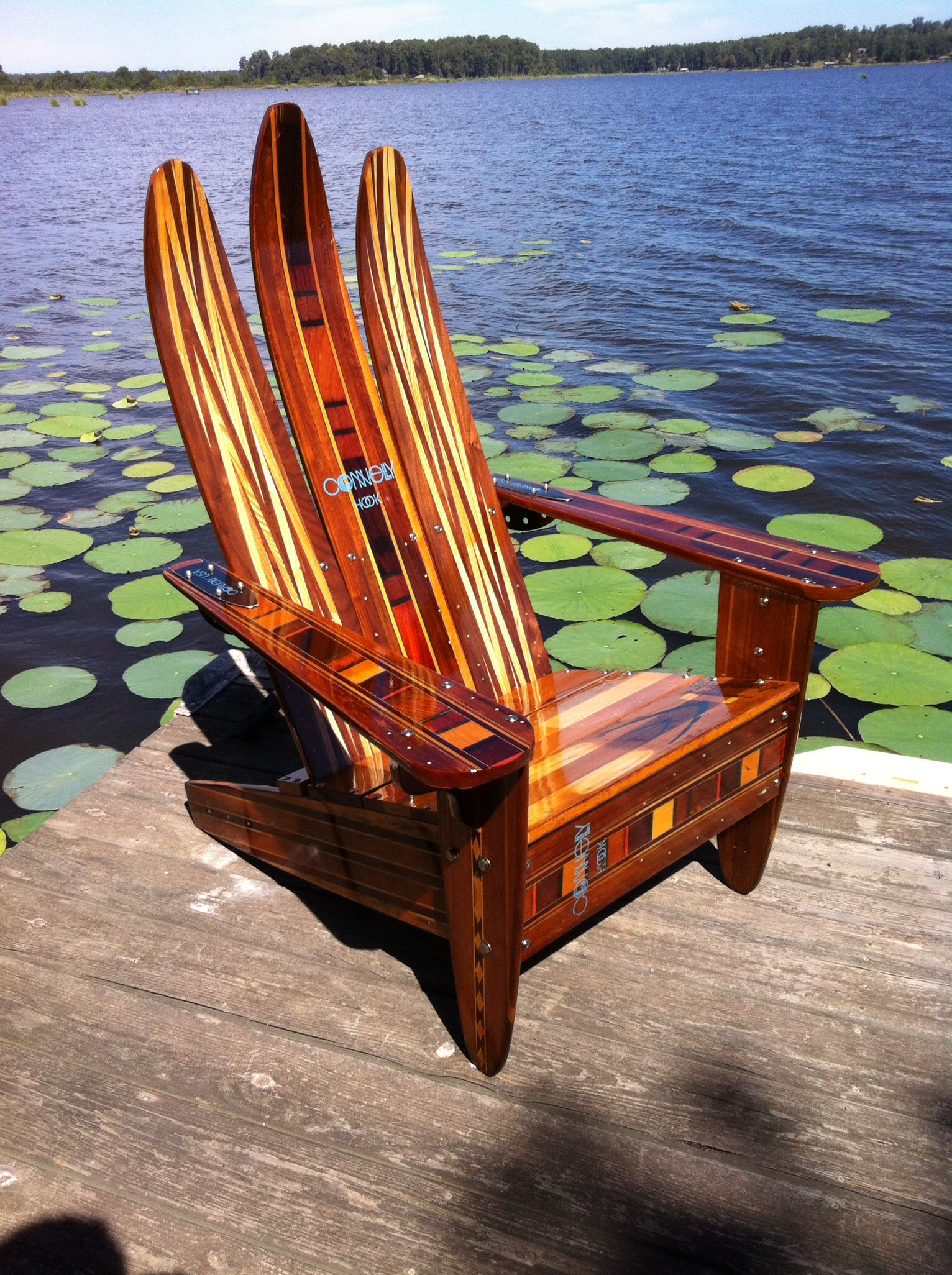 Adirondack chair made of vintage wooden water skis