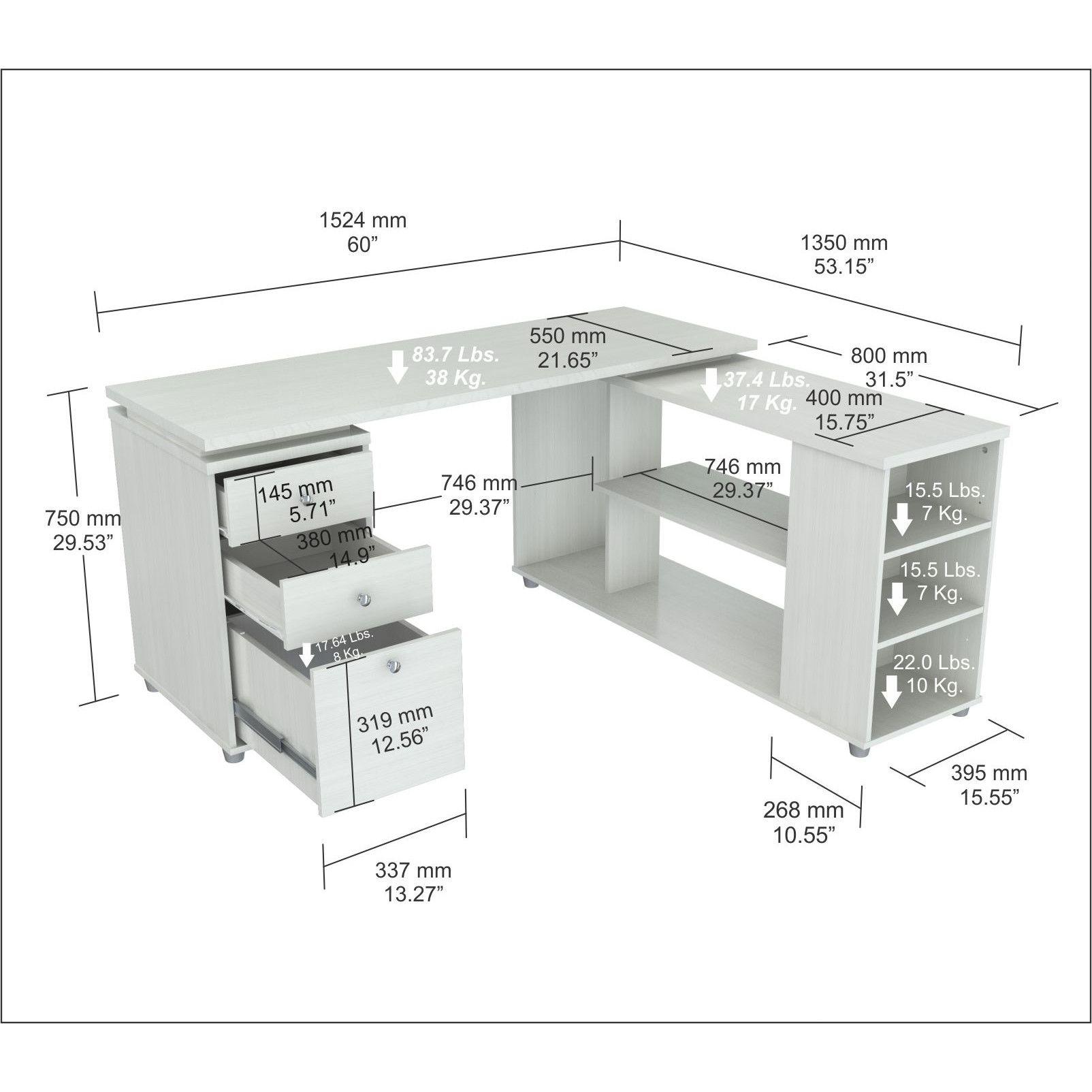 Features l desk with shelves features accessory drawers for Escritorios de oficina