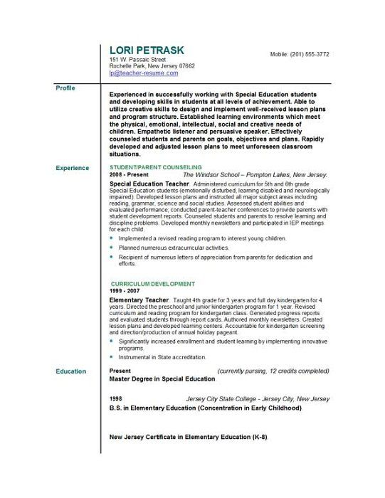 Special Education Teacher Resume  HttpWwwResumecareerInfo